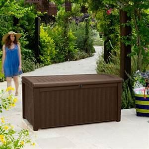 auflagenbox borneo zum sitzen in rattan und holzoptik With französischer balkon mit garten kissenbox zum sitzen