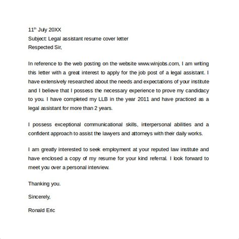 Litigation Attorney Resume Cover Letter by Sle Resume Cover Letter Exle 11 Free