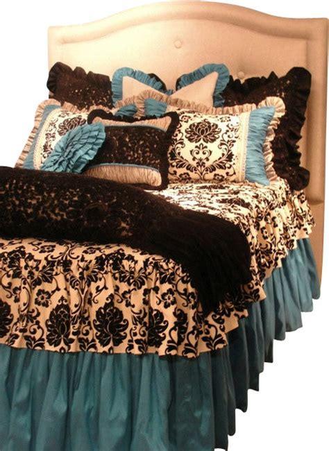 twin size turquoise black  white damask toile girls bedding set traditional kids