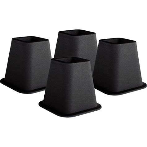 6 inch high bed risers in black 4 pack affordable beds com