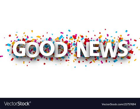 good news banner  colorful confetti royalty  vector