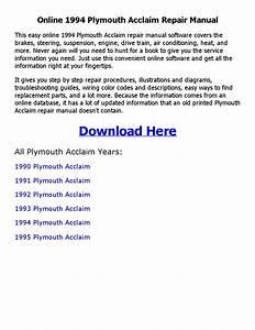 1994 Plymouth Acclaim Repair Manual Online By Sanod Saha