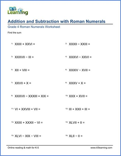 grade 4 math worksheets adding and subtracting roman numerals k5 learning