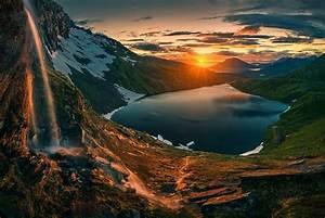 Nature, Photography, Landscape, Waterfall, Lake, Mountains
