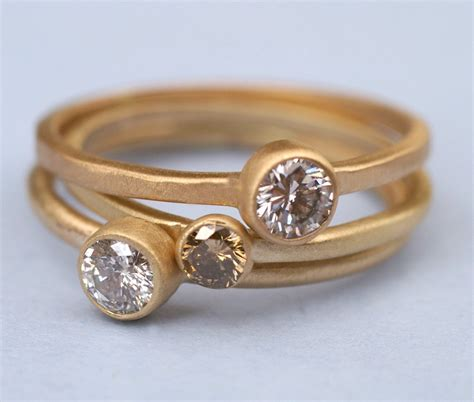 chic recycled gold wedding bands and engagement