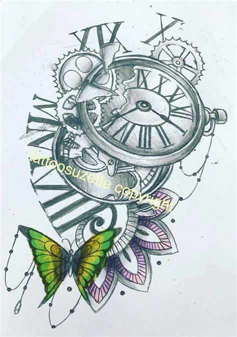 clock butterfly mandala tattoo design  tattoosuzette