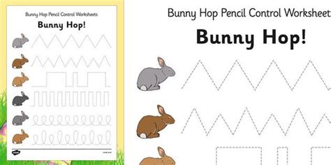 bunny hop pencil control worksheets easter fine motor