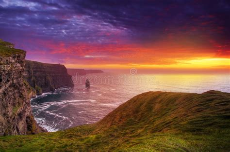 amazing sunset  cliffs  moher stock image image