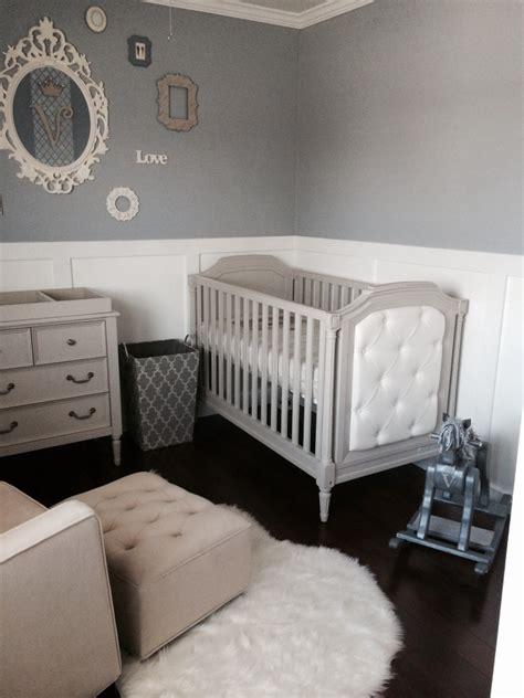 white and gray boy nursery with blue baby boy nursery project nursery