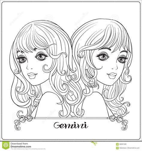 gemini twins  young beautiful girls stock vector