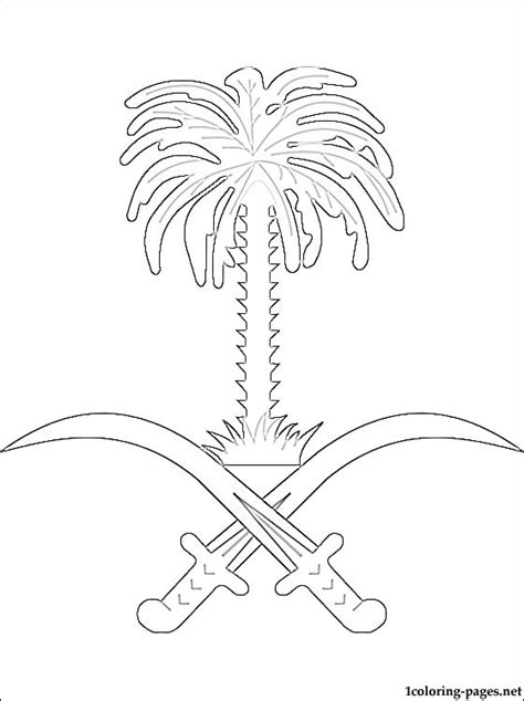 saudi arabia coat  arms coloring page coloring pages
