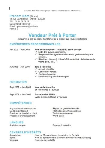 Cv Simple Exemple by Modele De Cv Facile A Faire