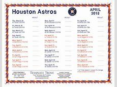 Printable 2018 Houston Astros Schedule