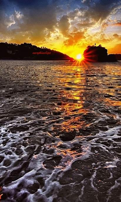 Sunset Nature Soleil Coucher Ocean Gifs Bonne