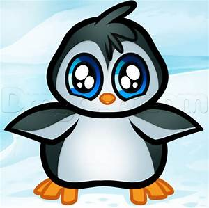 Drawn penguin adorable penguin - Pencil and in color drawn ...
