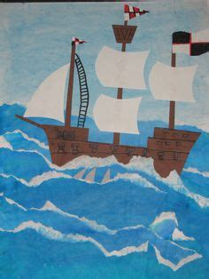 pirate ships  stormy seas painted paper texture collage