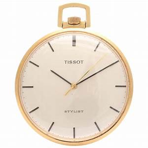 Tissot Yellow Gold Open Faced Stylist Pocket Watch circa