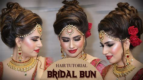 bridal high bun hairstyle tutorial traditional bridal