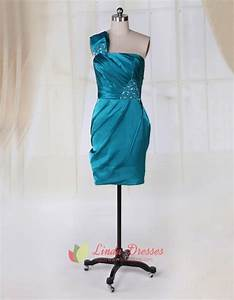 Teal Green Cocktail Dresses One Shoulder Side Drape Short ...