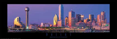 dallas texas evening panoramic skyline poster