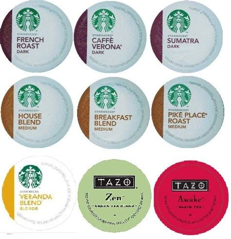 Get 18 Count   Variety Pack of Starbucks Coffee & Tazo Tea K Cups for Keurig Brewers (9 Flavors