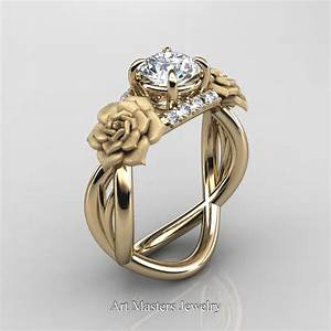 Nature inspired 14k yellow gold 10 ct white sapphire for White gold engagement ring with yellow gold wedding band