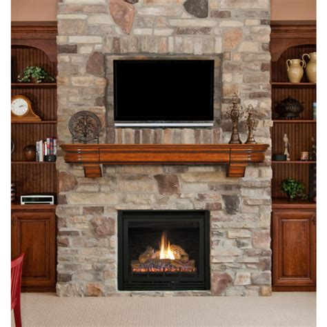 Natural Wood Fireplace Mantel Shelf With Hidden Drawer