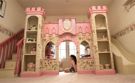 Girls Princess Playhouse Bed With Slide & Steps
