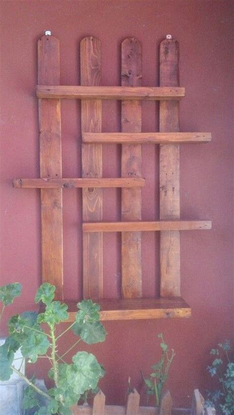 estantes de madera  plantas jardineria en