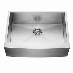 Shop vigo 30 in x 2225 in stainless steel single basin apron front farmhouse commercial for 25 apron front sink