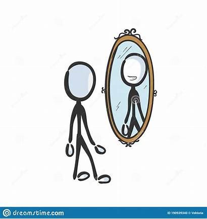 Mirror Reflection Self Clipart Looking Cartoon Sad
