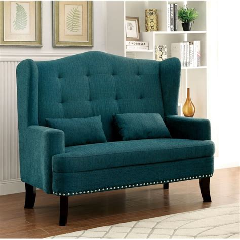 teal settee furniture of america tufted wingback settee in teal