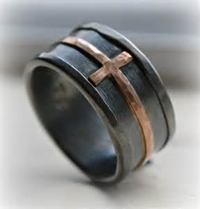 mens wedding rings with crosses mens cross wedding band rustic hammered cross ring oxidized silver sterling copper