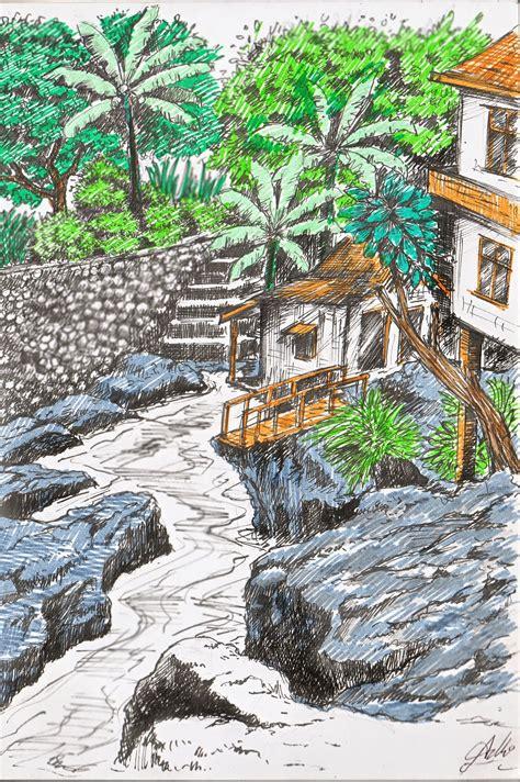 Indonesia's sketchers Bandung: Sungai & Perkampungan