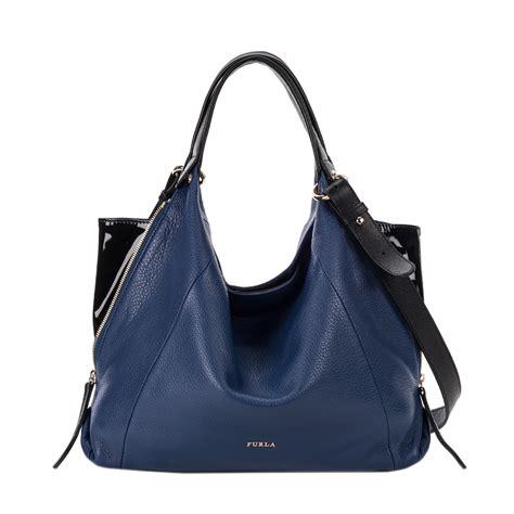 furla s hobo bag furla elisabeth hobo bag in blue ink lyst