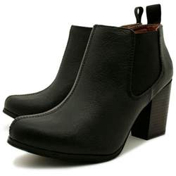 womens boots black leather buy womens black leather style chelsea block heel ankle boots