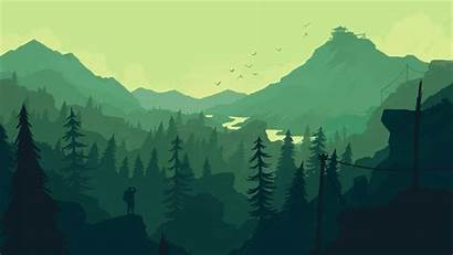 Minimalistic Landscape Forest Firewatch Wallpapers Desktop Laptop