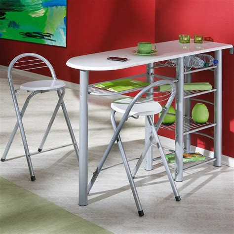 table de bar pour cuisine table de bar quot frida quot 2 tabourets blanc 50901190