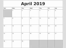 Blank Printable April 2019 Calendar Qualads