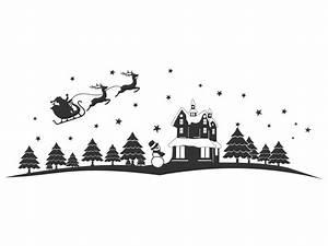 Weihnachtsmotive Schwarz Weiß : wandtattoo weihnachtliche landschaft ~ Buech-reservation.com Haus und Dekorationen
