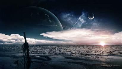 Moon 4k Ocean Planet Night Clouds Sea