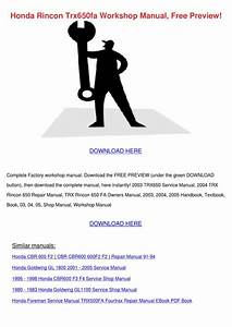 Honda Rincon Trx650fa Workshop Manual Free Pr By Reda