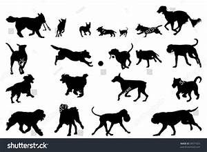Dog Running Silhouettes Design Elements Stock Vector ...