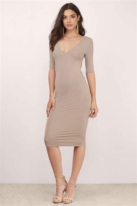 taupe color dress taupe dress twist back dress half sleeve taupe dress