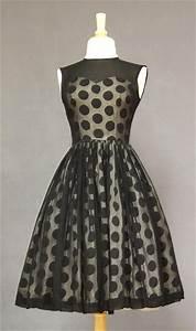 vintage 1960s black cocktail dress | Polka Dots | Pinterest