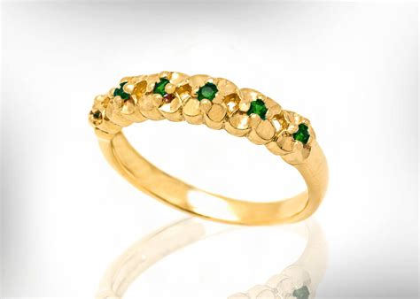 18k Emerald Wedding Band Emerald Wedding Ring For Women May