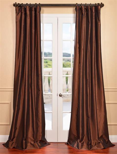 copper brown faux silk taffeta curtain contemporary