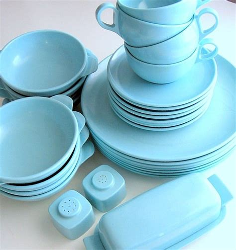 vintage collection  aqua blue melmac dinnerware