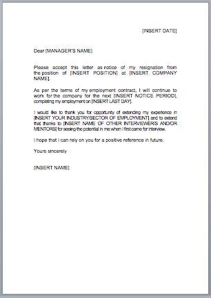 uk resignation letter sample