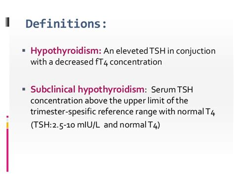 free t4 serum normal range subclinical hypothyroidism in pregnancy